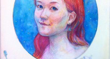 写真:自画像 2011 クレヨン, 水彩絵の具