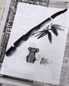 【宇品教室】ねずみの水墨画