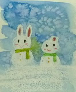 雪と水彩絵の具