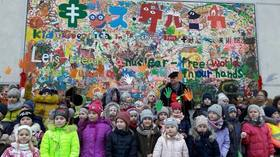 2015年に広島の子どもたちが描いた「キッズゲルニカ」がウクライナで展示されました