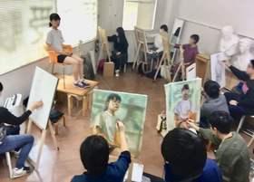 アトリエぱお芸大美大受験科 白島教室 日曜日も熱心に制作中!